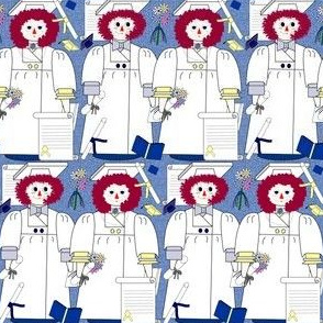 Graduation Annie and Andy Raggedy Dolls Graduation, Diploma, Cap & Gown Fabric #7