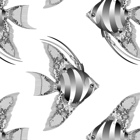 Chantilly Lace Angel Fish - Black Flavor fabric by bliss_and_kittens on Spoonflower - custom fabric