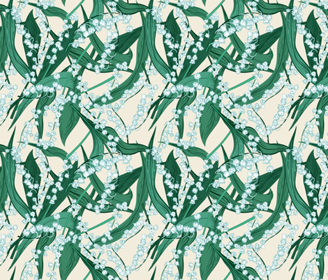 Lily of The Valley - Green fabric by diane555 on Spoonflower - custom fabric