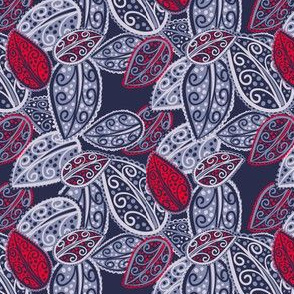 Scattered Paisley Leaves - red blue