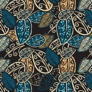 Scattered Paisley Leaves - blue/black