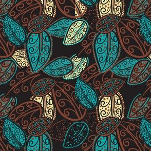 Scattered Paisley Leaves - aqua/brown