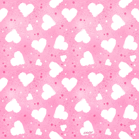 KiniArt Hearts & Confetti fabric by kiniart on Spoonflower - custom fabric