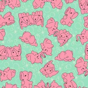 Pink Elephants- Mint Background