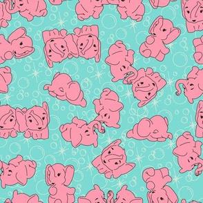 Pink Elephants- Turquoise Background