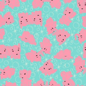Pink Elephants- Turquoise Background and Outline