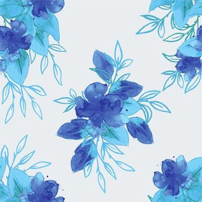 Watercolor Blooms - Blue