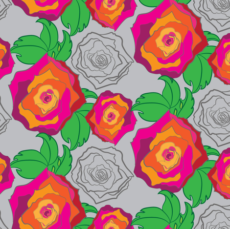 Large Rose Garden Floral Trellis || Flower Garden Botanical Gray Pink Orange Red Green illustration _Miss Chiff Designs fabric by misschiffdesigns on Spoonflower - custom fabric