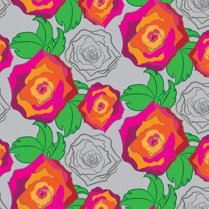 Large Rose Garden Floral Trellis || Flower Garden Botanical Gray Pink Orange Red Green illustration _Miss Chiff Designs