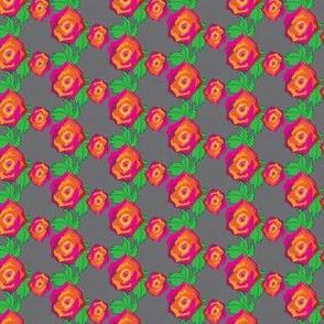 Small Pink Red Orange Rose Trellis || Flower floral botanical illustration Gray grey _Miss Chiff Designs