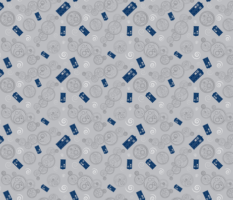 New Who Phrases in Grey - Small fabric by byjm2 on Spoonflower - custom fabric