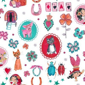 Little Gypsy Girl // Red Pink Turqoise gypsy & cats girls room nursery decor little girls fabric