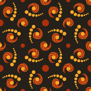 Elegant pattern of circle and twirl elements