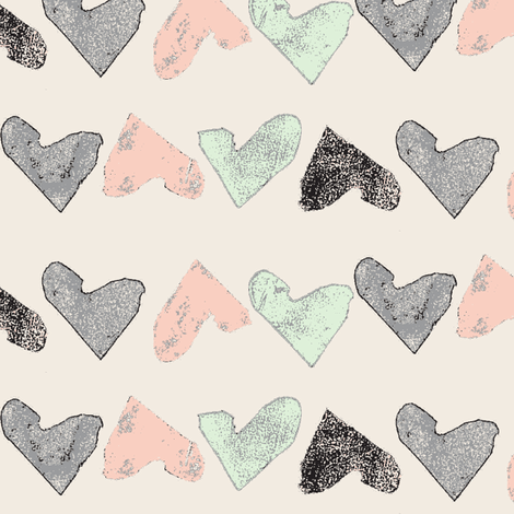 hand stamped hearts - cream with black fabric by ali*b on Spoonflower - custom fabric