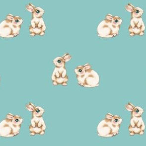 Easter Bunnies Brown Spots on Duckegg Blue