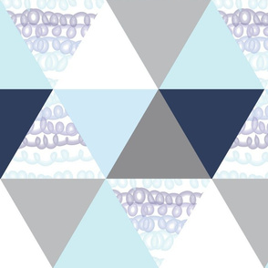 Aqua and Navy Squiggle triangle cheater quilt - triangle quilt - baby blanket
