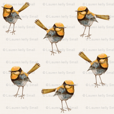 Golden Wrens on Ivory wallpaper - thistleandfox - Spoonflower