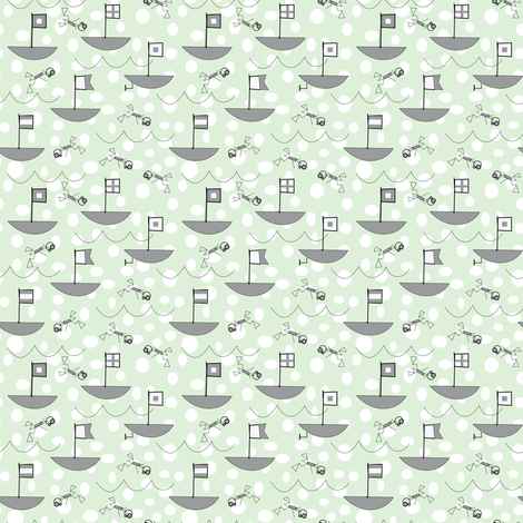 Gray nautical flags on a cucumber sea fabric by pamelachi on Spoonflower - custom fabric