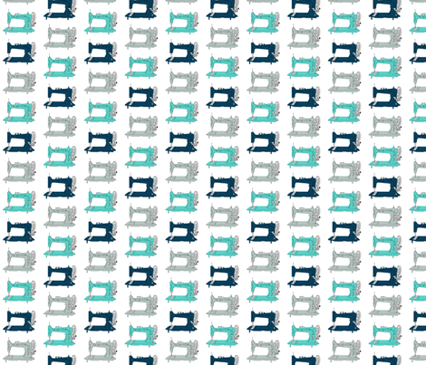 Sew Vintage Sewing Machines in Blues fabric by kelseycreates on Spoonflower - custom fabric
