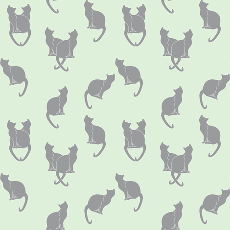 gray cats on cucumber fabric by pamelachi on Spoonflower - custom fabric