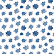 Watercolor Indigo Polka Dot