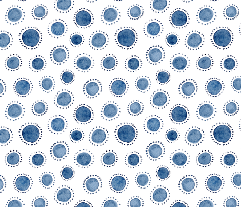 Watercolor Indigo Polka Dot fabric by dinaramay on Spoonflower - custom fabric