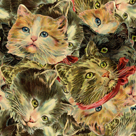Cat Heads fabric by trollop on Spoonflower - custom fabric