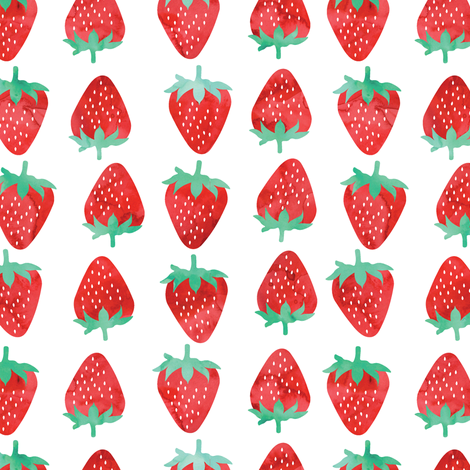 Strawberries fabric by littlearrowdesign on Spoonflower - custom fabric