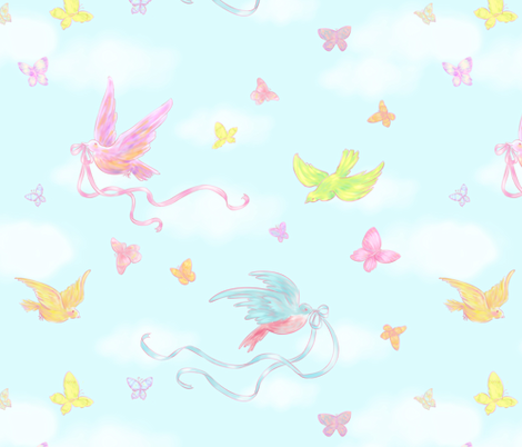 Birds and Butterflies fabric by risu_rose on Spoonflower - custom fabric