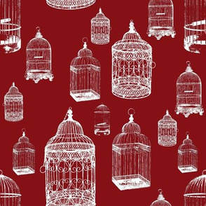 Antique Bird Cages - White on Maroon