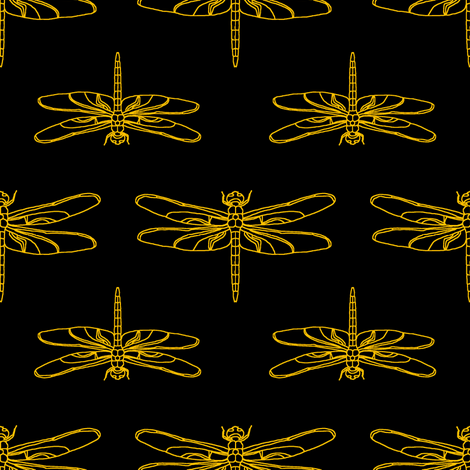 Dragonfly Drawing  // Black & Orange fabric by thinlinetextiles on Spoonflower - custom fabric