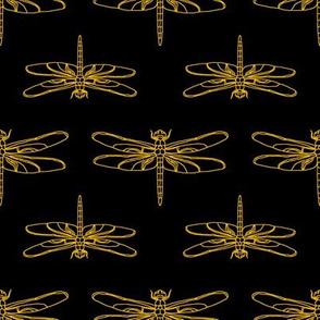 Dragonfly Drawing  // Black & Orange