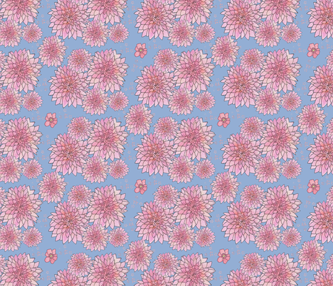 Floral No 1 Dahlias fabric by mariden on Spoonflower - custom fabric