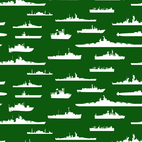 White Fleet // Green fabric by thinlinetextiles on Spoonflower - custom fabric