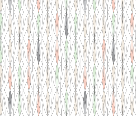 willow - (gray, cream, cucumber & peach) fabric by johannak on Spoonflower - custom fabric
