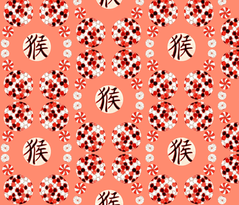 Chinese Balls - Coral fabric by heckadoodledo on Spoonflower - custom fabric