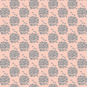 butterfly checkerboard gray and peach