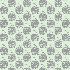 butterfly checkerboard gray and cucumber