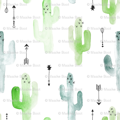 Watercolor cactus illustration indian summer theme with arrows in blue and green