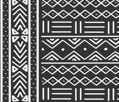 Large Charcoal African Mudcloth fabric by thestylesafari on Spoonflower - custom fabric