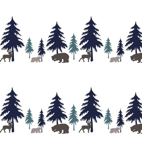 Deer, Bears and Trees in Navy