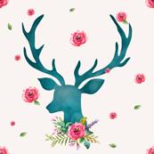 Floral Aqua Deer with Roses