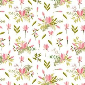 Floral Pink and Green Print
