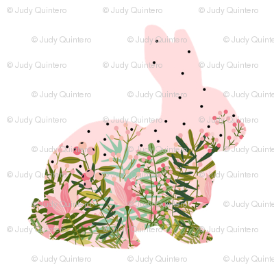 Fancy Pink Floral Bunny Fabric Shopcabin Spoonflower