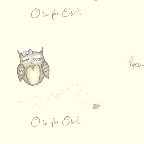 Olivia The Owl fabric by stickelberry on Spoonflower - custom fabric