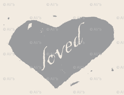 loved - grey on cream