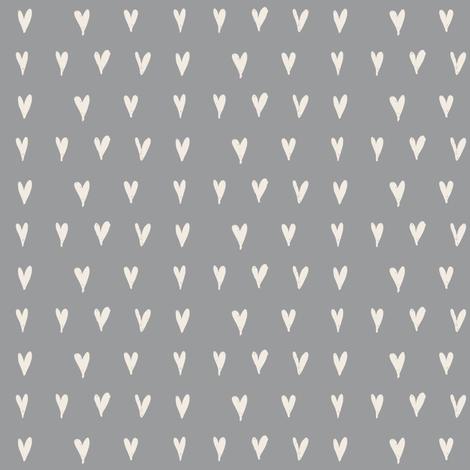 mini hearts - cream on grey fabric by ali*b on Spoonflower - custom fabric