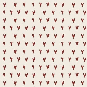 mini hearts - red on cream
