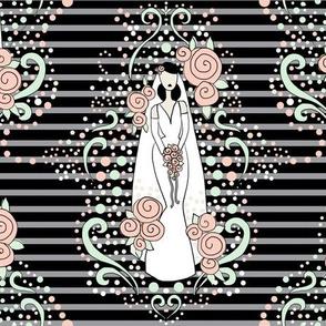 bridal damask cucumber peach cream
