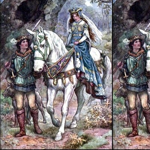 medieval knights princesses princes guards forests trees plants dogs horses fairy tales vintage retro